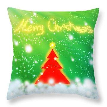 Red Christmas Tree Throw Pillow by Atiketta Sangasaeng