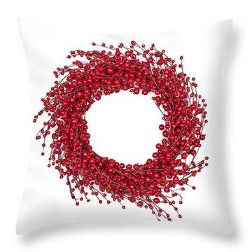 Red Christmas Wreath Throw Pillow by Elena Elisseeva
