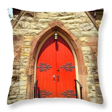 Throw Pillow featuring the photograph Red Church Door by Becky Lupe