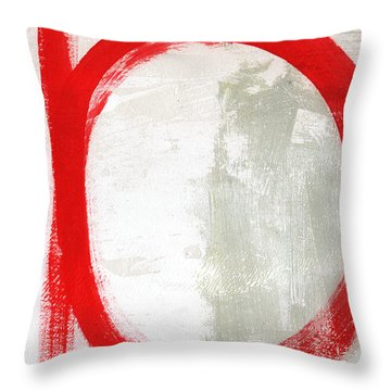 Red Circle 3- Abstract Painting Throw Pillow