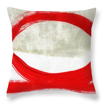 Red Circle 4- Abstract Painting Throw Pillow