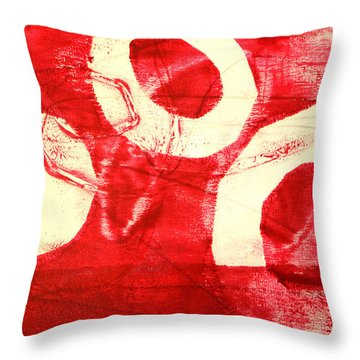 Red Circles Abstract Throw Pillow