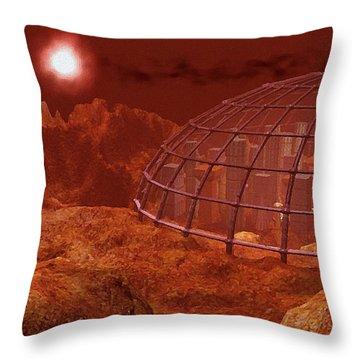 Red City Throw Pillow by Anastasiya Malakhova