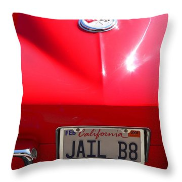Throw Pillow featuring the photograph Red Classic Corvette Jail Bait by Jeff Lowe