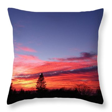 Red Clouds Throw Pillow by Tom Mansfield
