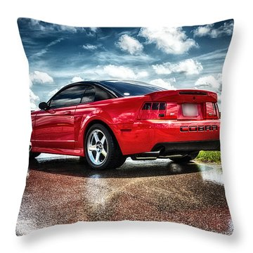 Red Cobra Rearview In Hdr Throw Pillow by Michael White