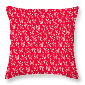 Red Coffee Cup Pattern Throw Pillow by John Keaton