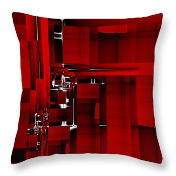 Red Construction I Throw Pillow