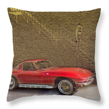 Red Corvette Throw Pillow by Steve Karol
