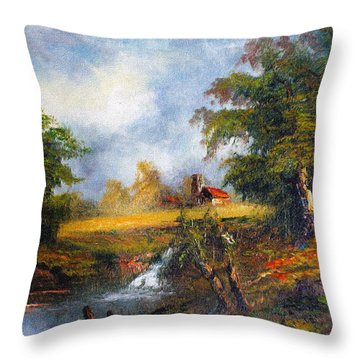 Red Cottage Throw Pillow