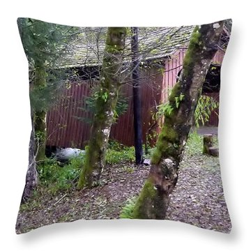 Red Covered Bridge  Throw Pillow by Susan Garren