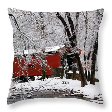 Red Covered Bridge Winter 2013 Throw Pillow