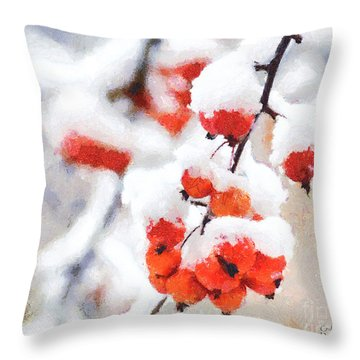 Red Crabapples In The Winter Snow - A Digital Painting By D Perry Lawrence Throw Pillow