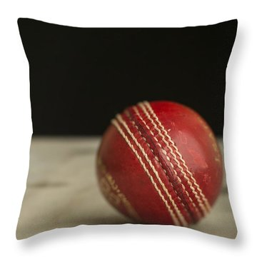 Red Cricket Ball Throw Pillow by Edward Fielding