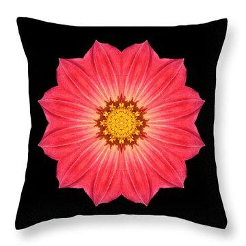 Red Dahlia Hybrid I Flower Mandala Throw Pillow by David J Bookbinder