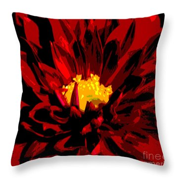 Throw Pillow featuring the photograph Red Dahlia Abstract by Olivia Hardwicke