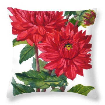 Red Dahlias Throw Pillow