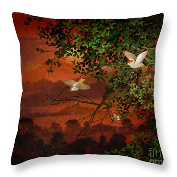 Red Dawn Sparrows Throw Pillow by Bedros Awak
