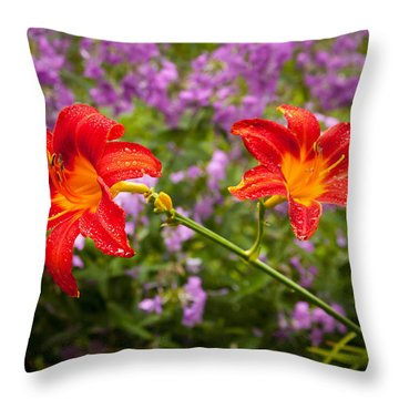 Red Daylilies Throw Pillow by Lena Auxier