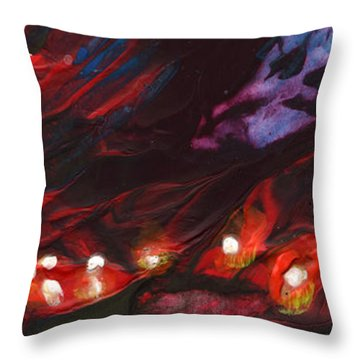Red Demon With Pearls Throw Pillow by Miki De Goodaboom