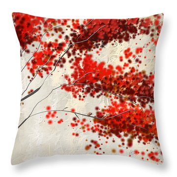 Red Divine- Autumn Impressionist Throw Pillow