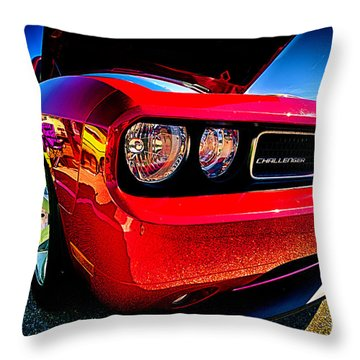 Red Dodge Challenger Vintage Muscle Car Throw Pillow