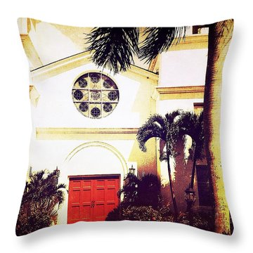 Red Door 2 Throw Pillow by Beth Williams