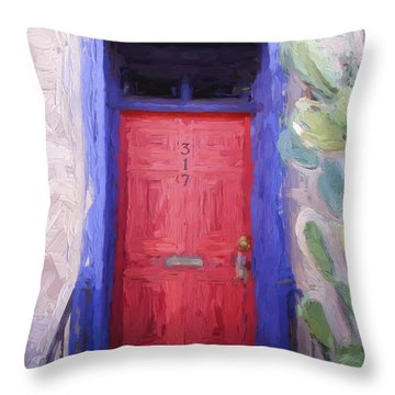 Red Door 317 Tucson Barrio Painterly Effect Throw Pillow