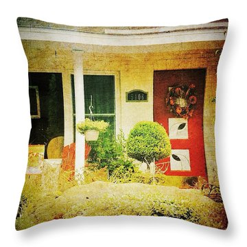 Red Door 5 Throw Pillow by Beth Williams
