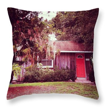 Red Door 9 Throw Pillow by Beth Williams