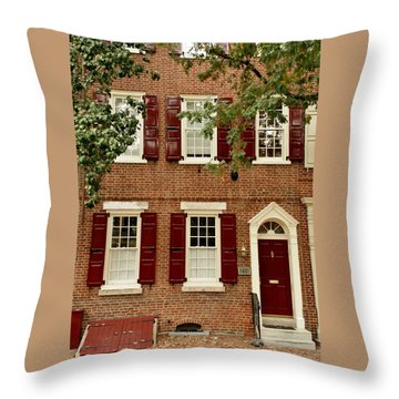 Red Door And Shutters Throw Pillow
