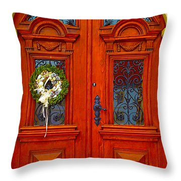 Red Door			 Throw Pillow by Ann Johndro-Collins