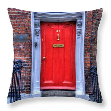 Red Door Dublin Ireland Throw Pillow by Juli Scalzi