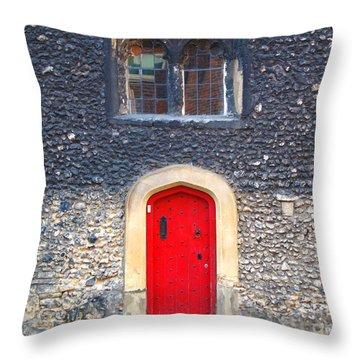 Red Door In Winchester Uk Throw Pillow
