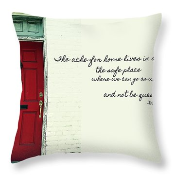 Red Door Quote Throw Pillow by JAMART Photography
