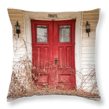 Throw Pillow featuring the photograph Red Doors - Charming Old Doors On The Abandoned House by Gary Heller