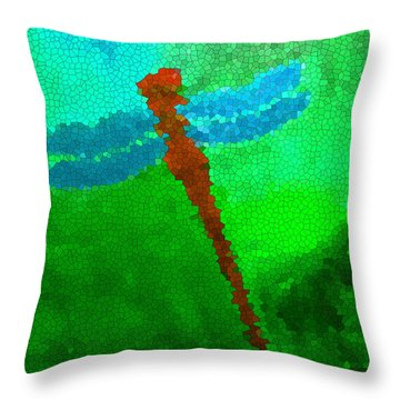 Throw Pillow featuring the digital art Red Dragonfly by Anita Lewis