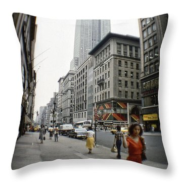 Red Dress In New York Throw Pillow