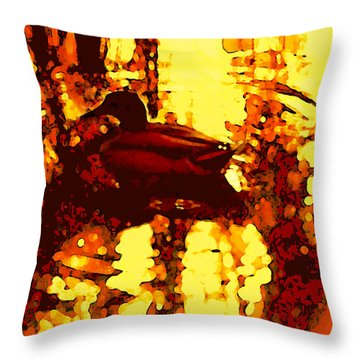 Red Duck Lake 6 Throw Pillow by Amy Vangsgard