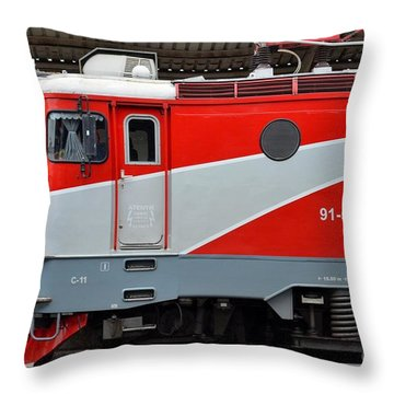 Throw Pillow featuring the photograph Red Electric Train Locomotive Bucharest Romania by Imran Ahmed