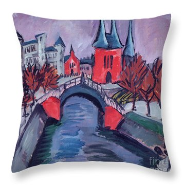 Red Elisabeth Riverbank Berlin Throw Pillow by Ernst Ludwig Kirchner