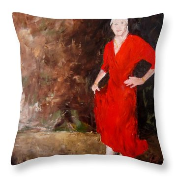 Throw Pillow featuring the painting Red Ellegance by Keith Thue