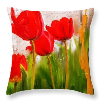 Red Enigma- Red Tulips Paintings Throw Pillow by Lourry Legarde