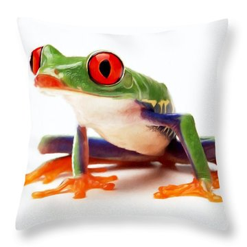 Red-eye Tree Frog 1 Throw Pillow by Lanjee Chee