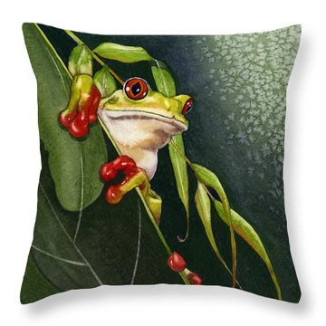 Red-eyed Frog Throw Pillow