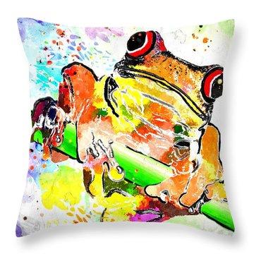 Red Eyed Tree Frog Grunge Throw Pillow by Daniel Janda