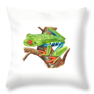 Red-eyed Treefrog Throw Pillow by Cindy Hitchcock
