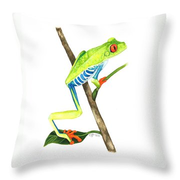 Red-eyed Treefrog From La Selva Throw Pillow by Cindy Hitchcock