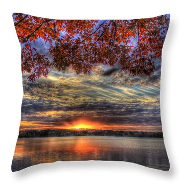 Good Bye Until Tomorrow Fall Leaves Sunset Lake Oconee Georgia Throw Pillow