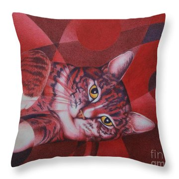 Throw Pillow featuring the painting Red Feline Geometry by Pamela Clements